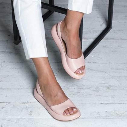 Cenglings Womens Casual Peep Toe Flats Shoes Slip On Shallow Shoes Slingback Platform Sandals Flatform Party Dress Sandals